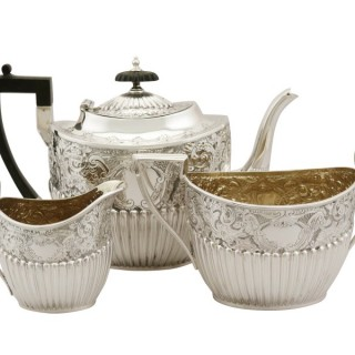 Sterling Silver Three Piece Tea Service - Queen Anne Style - Antique Victorian (1893)