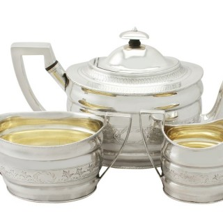 Sterling Silver Three Piece Tea Service by Richard Morton & Co - Antique George III (1802)