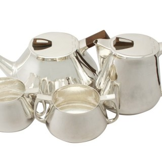 Sterling Silver Four Piece Tea and Coffee Service with Tray - Design Style - Vintage