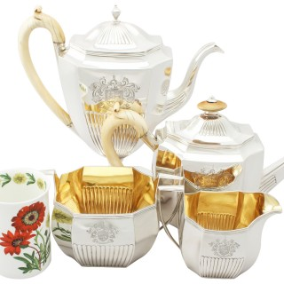 Sterling Silver Four Piece Tea Service - Queen Anne Style - Antique George III (1800-1802)