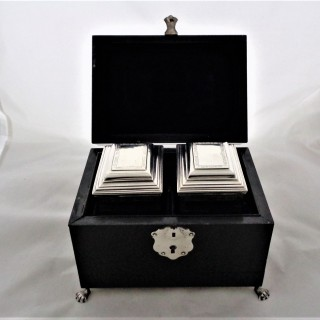 Super quality pair boxed George II silver tea caddies London 1731 Christian Hillan