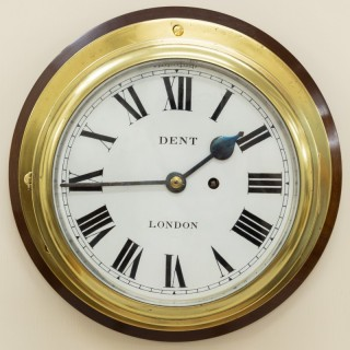 Victorian Brass Cased English Fusee Ships Clock by Dent, London