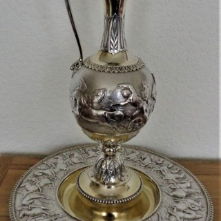 Monumental neoclassical Victorian parcel gilt silver ewer on stand London 1866 Stephen Smith