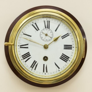 Victorian English Brass Cased Ships Clock