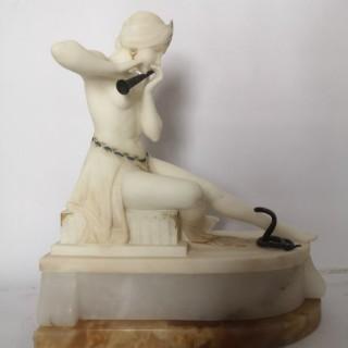 1930s Art Deco Italian alabaster snake charmer sculpture lamp by E Battiglia