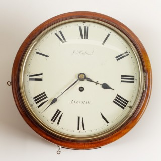 English Mahogany Round Dial Fusee Wall Clock by J.Huband, Evesham