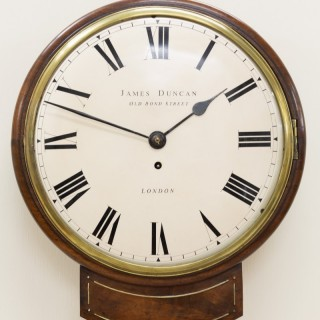 Regency Mahogany English Fusee Drop Dial Wall Clock by James Duncan, London