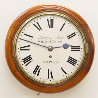 Late Victorian English Round Dial Fusee Wall Clock by Langley Brothers, Finchley