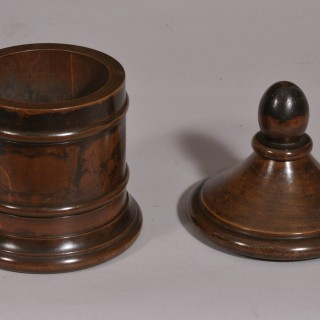 Antique Treen 19th Century Beech Tobacco Jar
