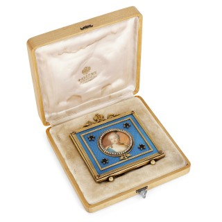 Vermeil and pearl photograph frame in the manner of Fabergé