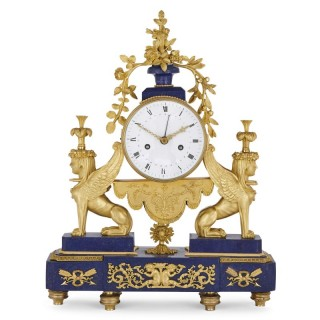 Gilt bronze and lapis French Empire period mantel clock