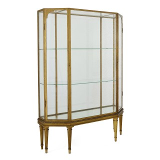 Pair of early 20th Century French giltwood display cabinets