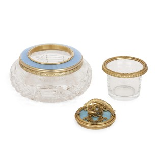 Glass, enamel, and vermeil caviar dish in the manner of Fabergé