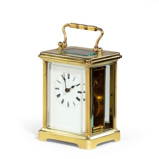 A Smart early 20th Century French Brass Encased Carriage Clock