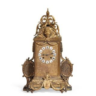 An Unusual French Gilt Bronze Mantel Clock