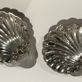 Pair of Silver Shell Butter Dishes