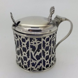 Silver  Mustard Pot and Spoon