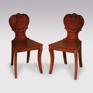 Pair of Regency period mahogany Hall Chairs
