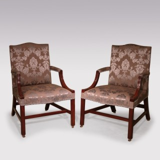 Pair of mid 18th Century mahogany Gainsborough Chairs