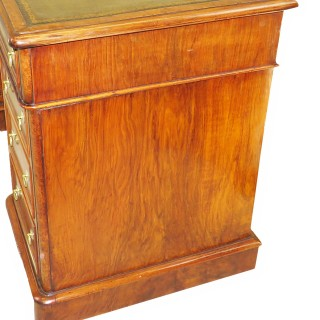 English 19th Century Burr Walnut Antique Pedestal Desk
