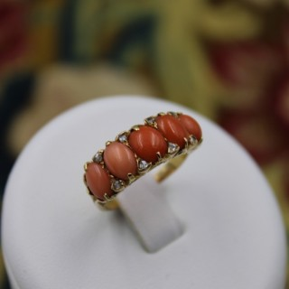 A very fine Victorian Coral and Diamond Ring set in 18ct Yellow Gold, English, Circa 1900