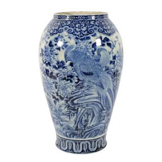 Large Japanese Arita Style Porcelain Vase