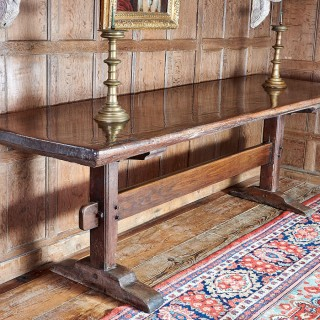 Rare single plank top trestle table