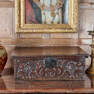 Charles II oak carved box