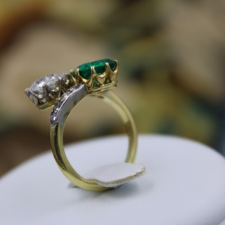 An Exceptional 18ct Yellow Gold & Platinum (tested), Colombian Emerald & Diamond Ring, Circa 1910