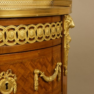 19th Century Louis XVI Marquetry and Gilt-Bronze Demilune Commode