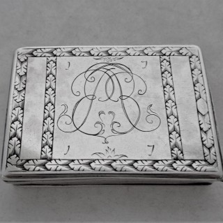 Lovely engraved Queen Anne Britannia silver box London 1716 Harache