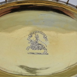 Super quality armorial early George III silver gilt swing handle basket London 1764 William Plummer