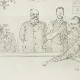 German Billiard Lithograph, Titled 'in the Billiard Room' by C Allers