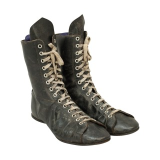Pair of Vintage Boxing Boots in Black Leather