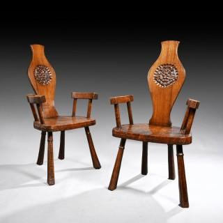 Pair of British Oak and Pollard Oak Jack Grimble Chairs