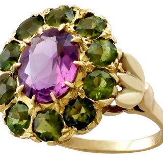 2.41ct Amethyst and 2.56ct Peridot, 9ct Yellow Gold Dress Ring - Antique Circa 1890