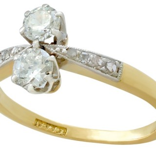 0.63ct Diamond and 18ct Yellow Gold, Platinum Set Dress Ring - Antique Circa 1920