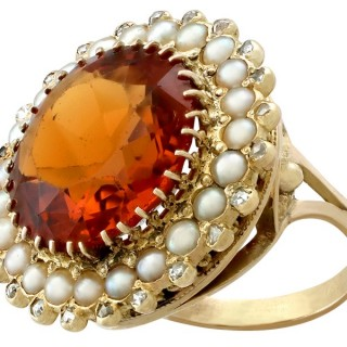 13.46ct Citrine and 0.29ct Diamond, Pearl and 14ct Yellow Gold Dress Ring - Vintage Dutch Circa 1950