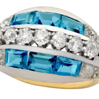 2.54ct Aquamarine and 2.13ct Diamond, 18ct Yellow Gold Dress Ring - Vintage Circa 1940