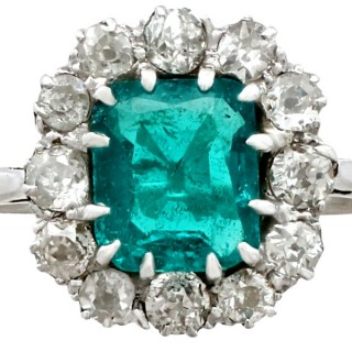 1.62 ct Emerald and 0.72 ct Diamond, Platinum Cluster Ring - Antique Circa 1910