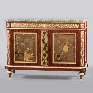 An Exceptional Louis XVI Style Gilt-Bronze and Lacquer Mounted Mahogany Commode À Vantaux by Beurdeley