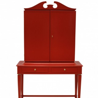 AN ARCHITECTURAL BAR CABINET IN SCARLET LACQUER BY PAOLO BUFFA