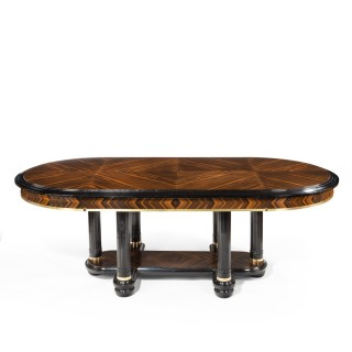 A stylish Art Deco zebra wood centre or dining table