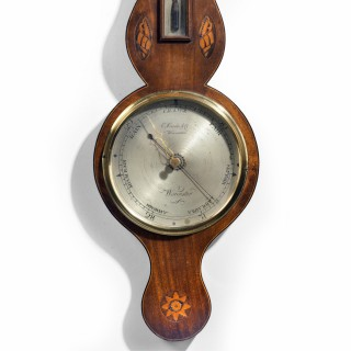 A Most Attractive George III Period Mahogany Barometer by Prada and Company of Worcester