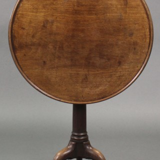 George III Mahogany Gun Barrel Tray Top Tripod Table, Circa 1770-1790