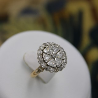 An exceptionally  fine 18ct Yellow Gold & Platinum Diamond Cluster Ring, circa 1930