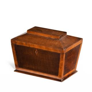 A Shaped Late George III Period Mahogany Tea Caddy
