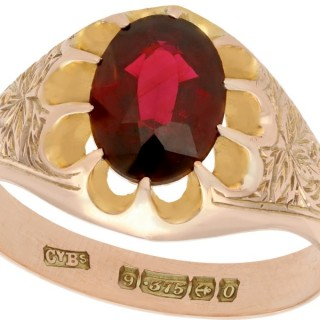 2.57ct Garnet and 9ct Rose Gold Solitaire Ring - Antique 1913