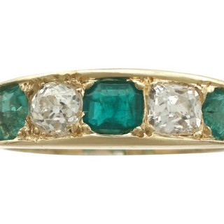 0.80 ct Emerald and 0.62 ct Diamond, 18 ct Yellow Gold Dress Ring - Antique Circa 1920