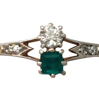 0.24 ct Emerald and 0.23 ct Diamond, 14 ct Yellow Gold Dress Ring - Antique Circa 1920